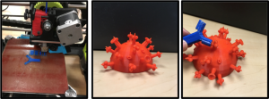 Three images show the 3D printing process. First, a 3D printer is printing a blue antibody molecule. Second, a red influenza virus model is shown. It is covered with spikes that represent viral epitopes. Third, the completed antibody molecule is shown binding to one of the viral epitopes.
