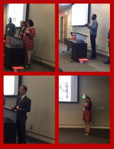 Undergraduate students presenting a seminar of their work.